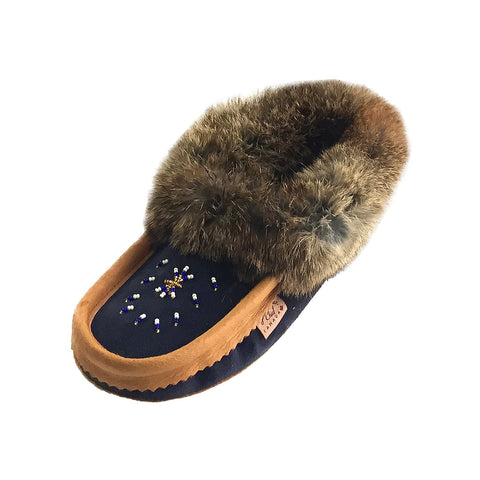 Women's Fleece Lined Navy Suede Moccasins With Rabbit Fur 600NBCKL