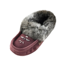Women's Fleece Lined Plum Suede Moccasins With Rabbit Fur 659