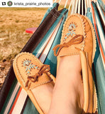 Women's Rubber Sole Beaded Moccasin Shoes - B114270