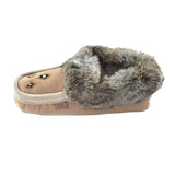 Women's Sheepskin Lined Suede Moccasins With Rabbit Fur