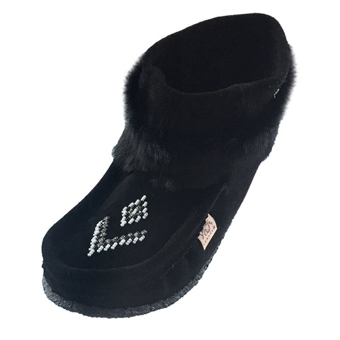 Women's Black Ankle Rabbit Fur Nuka Mukluks 556537BL