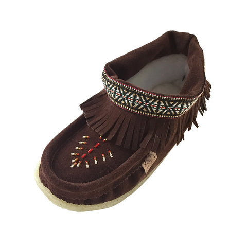 Women's Beaded Fringed Fleece Slippers with Crepe Sole 6481727