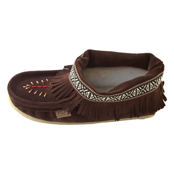 Women's Beaded Fringed Fleece Slippers With Crepe Sole