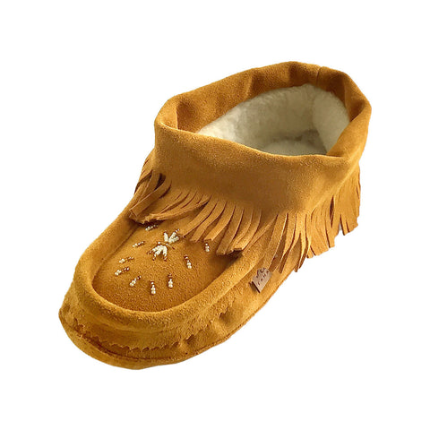 Women's Fringed Soft Sole Suede Beaded Moccasins 64817L