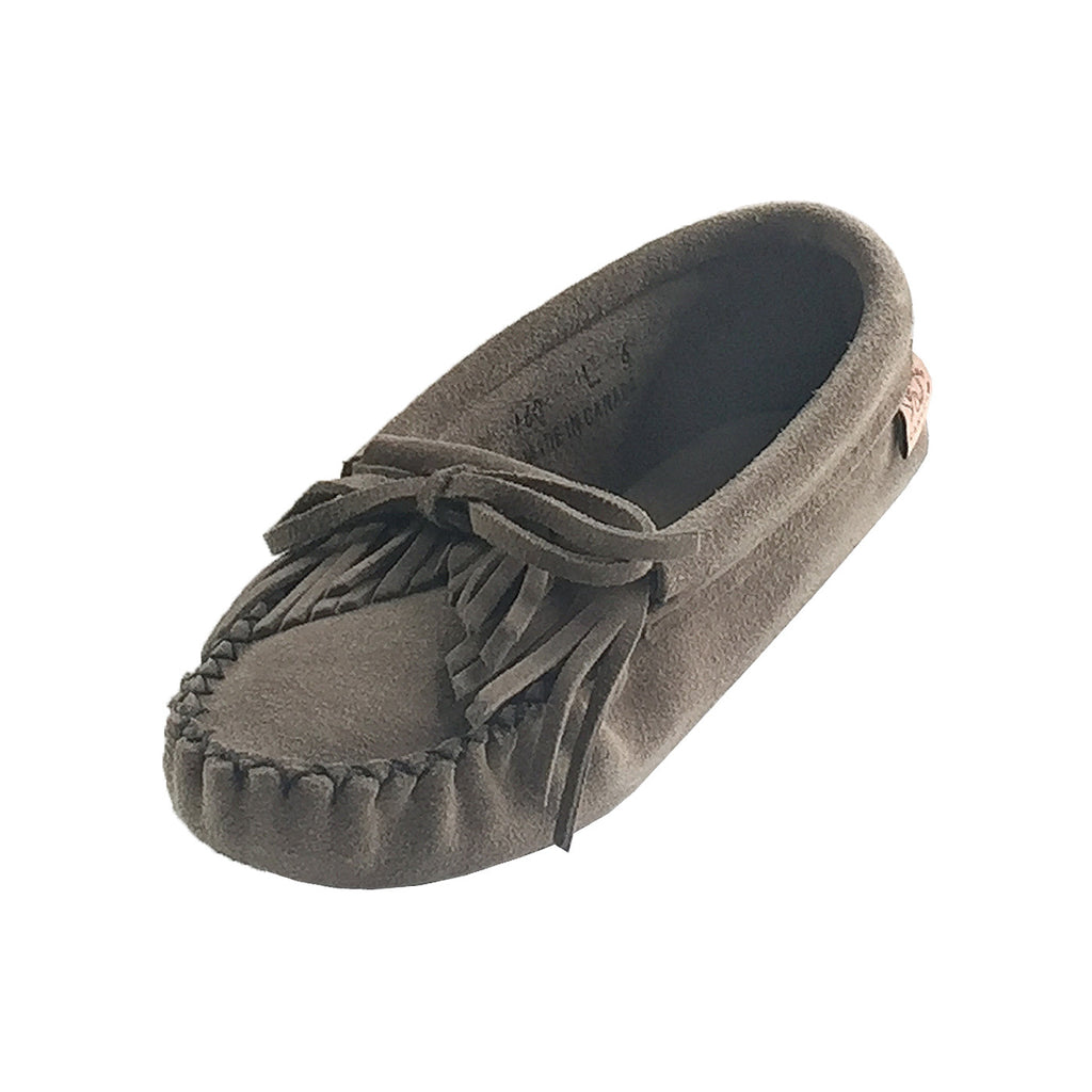 Women's Fringed Soft Sole Gray Suede Moccasins 160