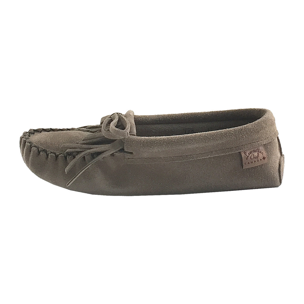 Women S Soft Sole Gray Genuine Suede Moccasin Slippers For