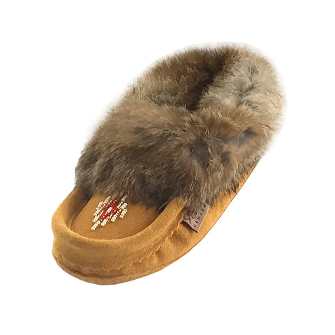 Junior Suede Fleece Lined Beaded Moccasins With Rabbit Fur 648J