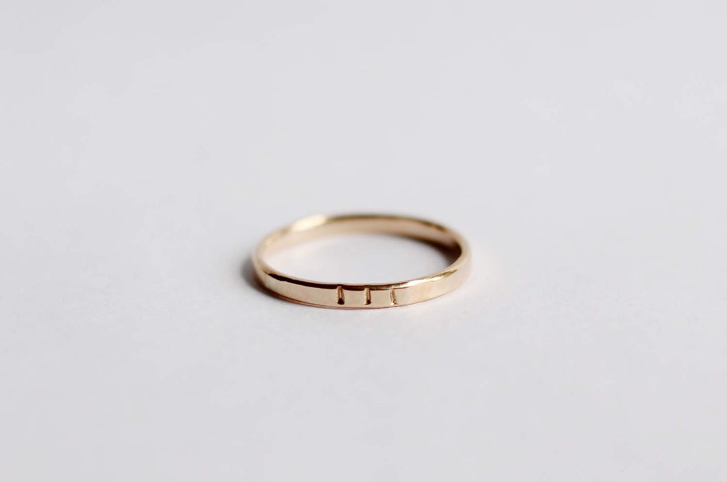 Three Notched Gold Ring