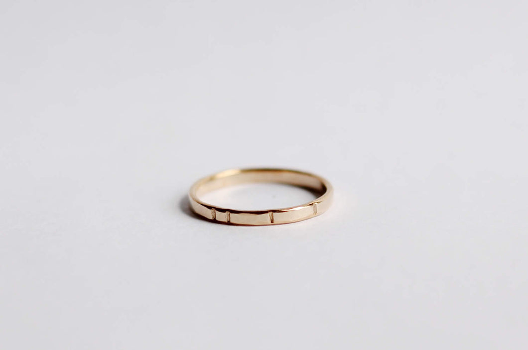 Four Notch Gold Ring