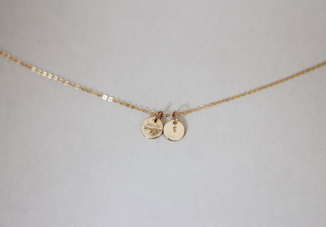 Branch & Initial Necklace