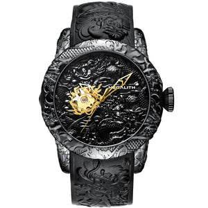MEGALITH Gold Dragon Sculpture Automatic Mechanical Watch For Men