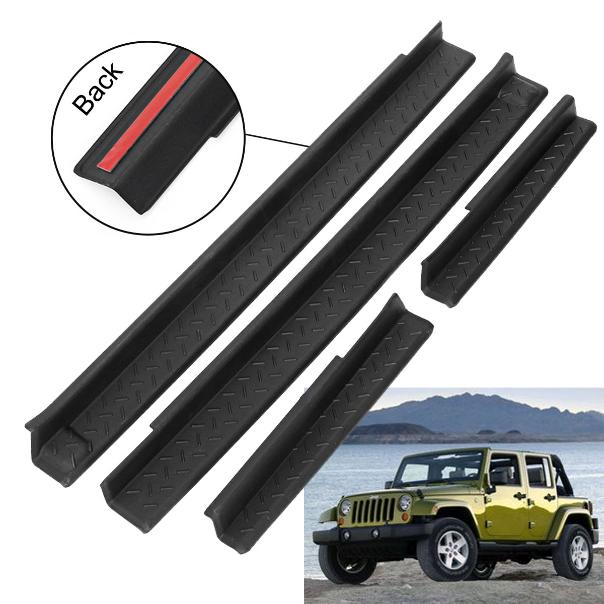 4Pcs Car Door Scuff Guards Protector For Jeep Wrangler 2007-2017
