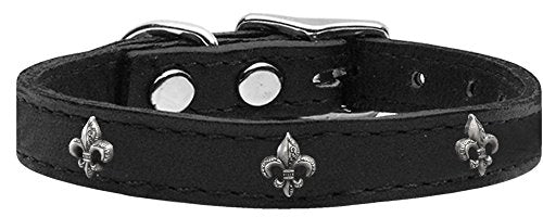 Leather Dog Collar Silver Fleur De Lis Widget Black Sizes 10-26