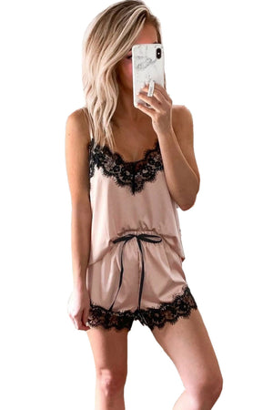 Apricot Lace Satin Sleepwear Cami Top and Shorts Pajama Set