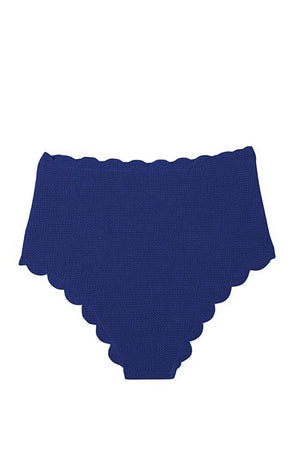 Blue Scalloped Edge High Waist Bikini Panty