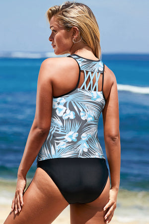 Gray Blue Tropical Tankini Swim Top