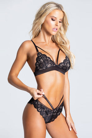 Black Strappy Lace Bralette Set