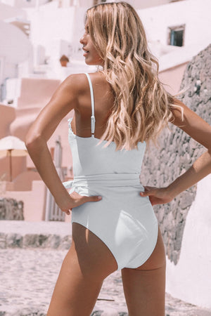 White Frill Neck Waist Sash Spaghetti Straps One-piece Swimwear