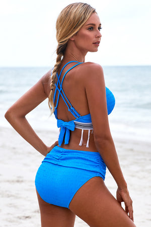 Blue Strappy Tassel Bowknot Back High Waist Bikini