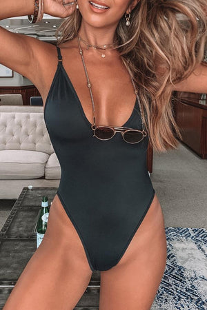 Black V Neck One Piece Swimsuit