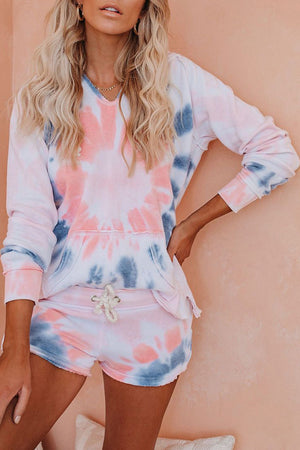 Pink Cotton Blend Pocketed Tie-dye Hoodie Shorts Suit