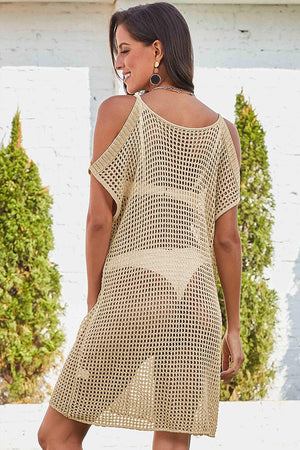 Apricot Slit Shoulder Fishnet Beach Cover up