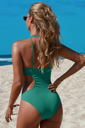 Green Frilled Neck Cut-out Ribbed One-piece Swimwear