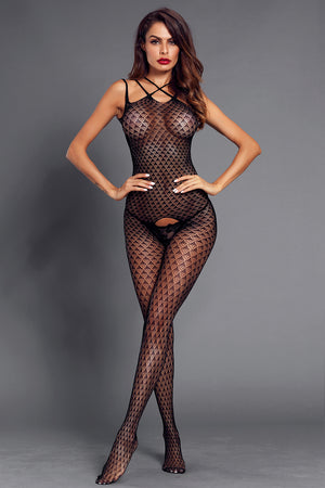 Black Sleeveless Crotch Scale Detail Body Stocking