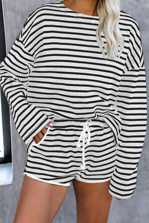 Gray Striped Lounge Long Sleeves Shorts Set