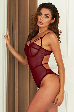 Burgundy Seductive Lover Mesh Teddy