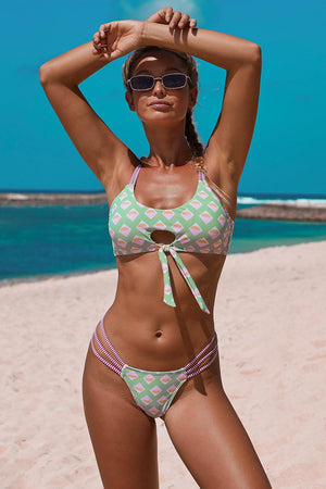 Green Turquoise Geometric Print Dual Straps Front Knot Two-piece Swimsuit