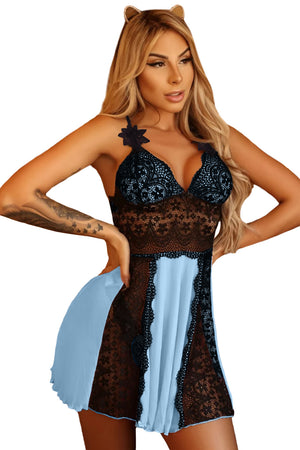 Sky Blue Lace Nightdress Babydoll