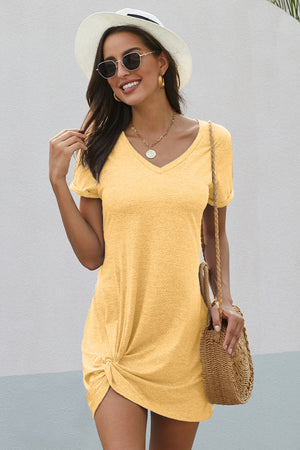 Yellow The Triblend Side Knot Dress
