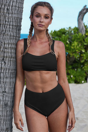 Black Ribbed Knit Sports Bra High-waisted Bikini Set
