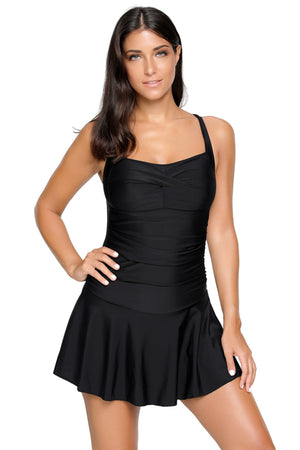 Solid Black Swimdress with Attached Shorts