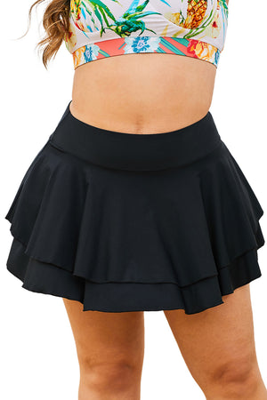 Black Double-layered Ruffles Beach Skirt