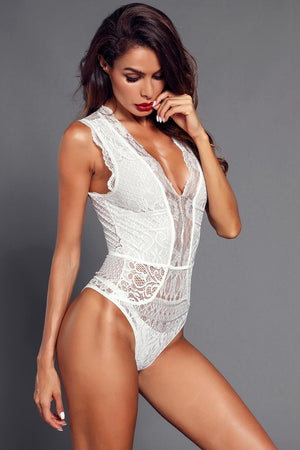 White V Neck Hollow-out Lace Bodysuit