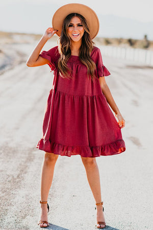 Red Ruffle Swing Dress