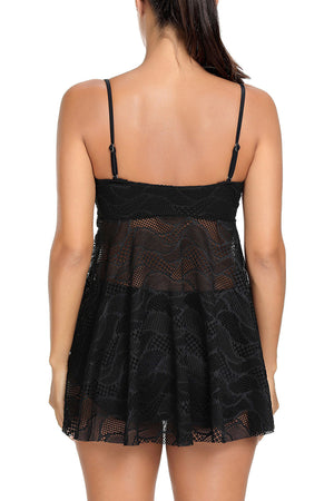 Black Mesh Cutout Strappy Tankini