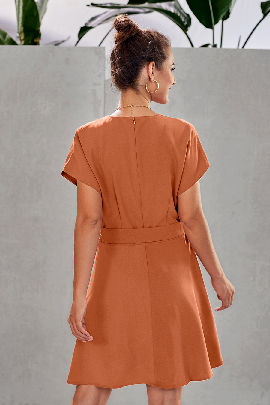 Orange Button Short Sleeve Casual Dress