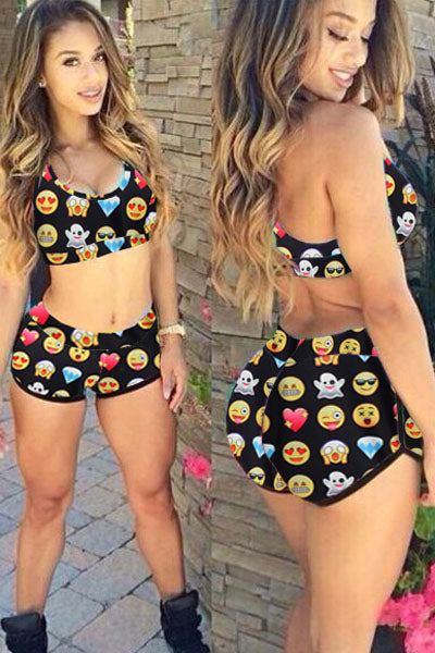 Funny Emoji Print Sporty Bathing Suit