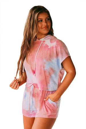 Blue Pink Tie Dye Lounge Two-Piece Set