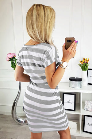 Gray Stripes Pocketed T-shirt Dress with Belt
