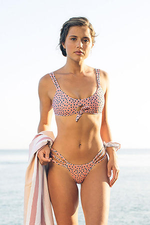 Pink Dotted Print Dual Straps Front Knot Two-piece Swimsuit