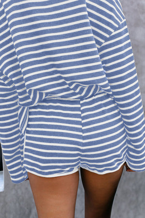 Blue Striped Lounge Long Sleeves Shorts Set