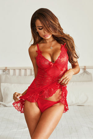 Red Lace Bridal Babydoll