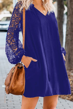 Blue Lace Long Sleeves Shift Above Knee Dress