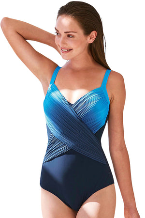 Blue Pleated Cross Wrap Front Maillot