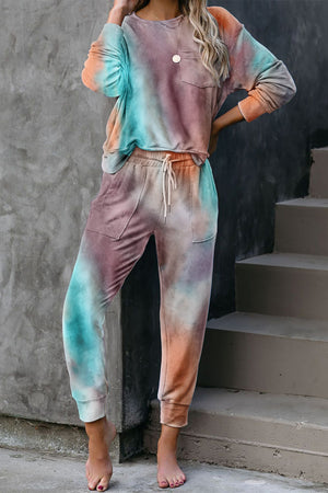 Multicolor Tie-dye Knit Lounge Set