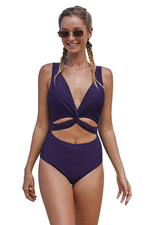 Sky Blue Twisted Ruched Hollow Out One-piece Swimwear